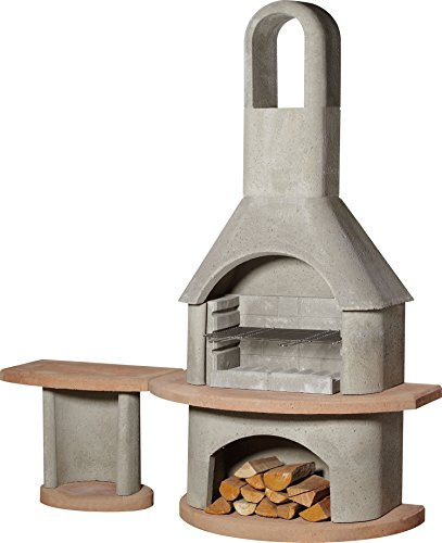 54cm Carmen Masonry Charcoal Barbecue with Side Table