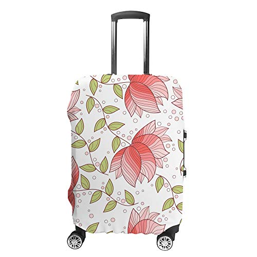 CHEHONG Suitcase Cover Luggage Cover Flower Pattern Cute Pink Travel Trolley Case Protective Washable Polyester Fiber Elastic Dustproof Fits 22-24 Inch