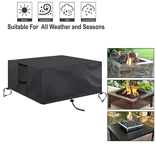 Rili Patio Fire Pit Cover Square 50 Inch, Outdoor Garden Waterproof Windproof Anti-UV Heavy Duty Fire Pit Table Cover