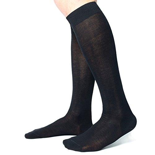 Ciocca Calze uomo lunghe, pregiato cotone 100% FILO SCOZIA - 6 Paia - tre taglie calze (44/45, Nero)