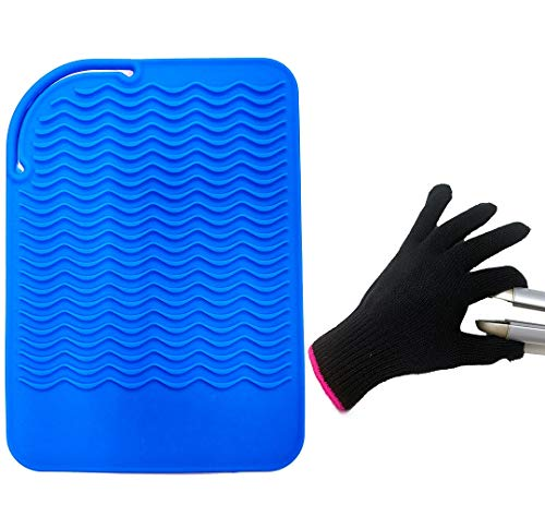 """Heat Resistant Mat Pad and Heat Resistant Glove for Curling Irons, Hair Straightener, Flat Irons and Hair Styling Tools 9"""" x 6.5"""", Food Grade Silicone, Blue by Lessmon"""