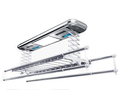 LHFJ Elektrischer Wäsche-Trockengestell-Deckenmontierter elektrischer Aufzug kleidet Trockengestell mit LED-Licht RC-Steuer-Multi Funktion für Wahl-Aluminiumlegierungs-Aufhänger begabt