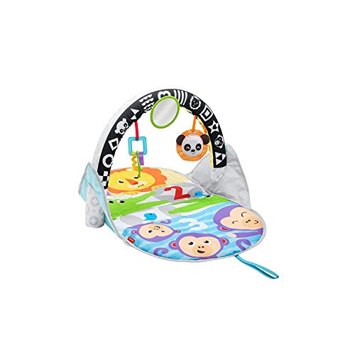 Fisher-Price FXC14 - Safari Spieldecke To Go mit klappbaren Spielbogen für Unterwegs, Babyerstausstattung ab Geburt