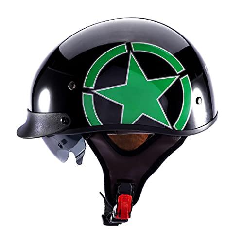 HAOYUNLAI Dot/ECE Certificado Casco Retro Motocicleta Malta Cara Casco Casco Mopeds Scooter Pilot con Visera Ahumada Interior Retratable,Green Star,XXL