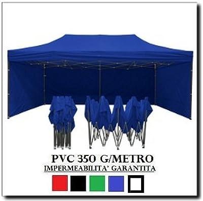 Carpa plegable 3 x 6 Azul Acero + 4 Laterales laterales PVC 350 g ...
