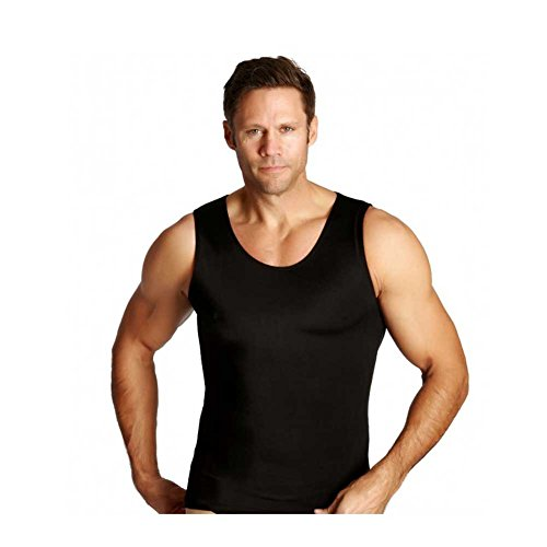 Insta Slim Men's Compression Tank Top - Slimming Body Shaper Muscle Tank (Black/Large) - Abdomen Control Undershirt for Home, Workouts, Gym, Running, Special Occasions & Daily Wear