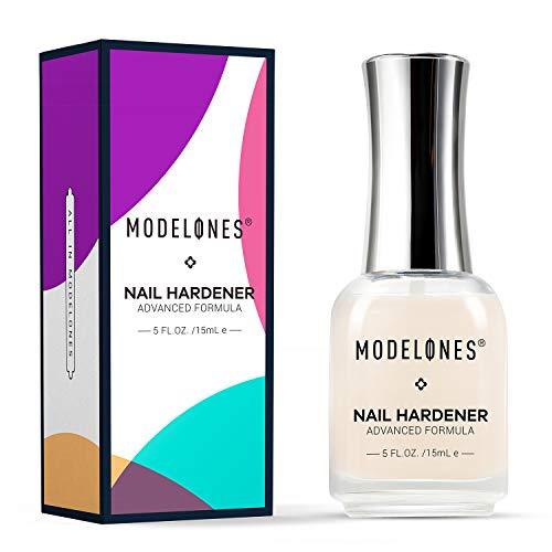 Modelones Nail Strengthener Nail Treatment for Chipping, Peeling, Brittle Fingernails, Strengthens, Conditions, Nail Hardener Use as a Top Coat or Base Coat, 0.5 fluid oz