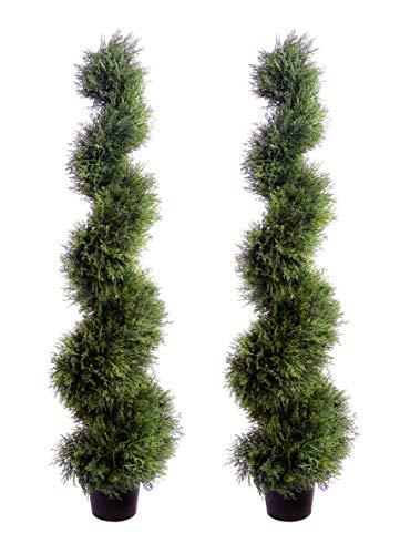 Best Artificial Lot de 2 Arbres en cèdre en Forme de Spirale Protégé Contre la décoloration Due au Soleil 120 cm