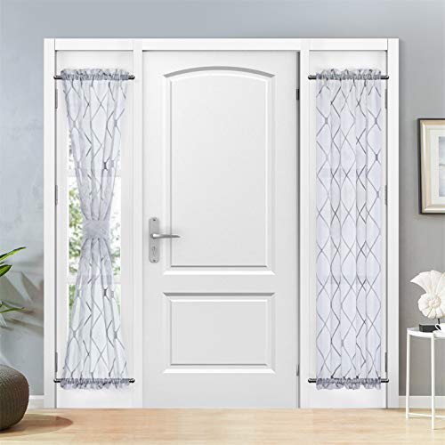 Topfinel Sheer French Door Window Curtains 25x72 Inches Sidelight Curtains for Front Door Tieback Included, Grey, 2 Panels