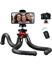 Telefonstativ, GooFoto flexibelt stativ med trådlöst 360° justerbart vattentätt mobilstativ för vlogging video live-streaming litet stativ för kamerastativ för iPhone, Android, Samsung