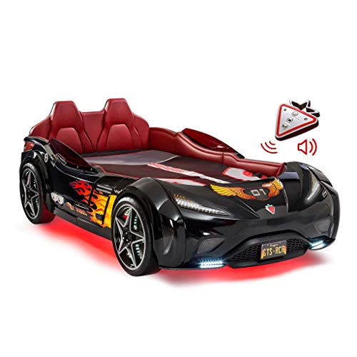 Cilek Twin Size Kids Race Car Bed Frame Remote Controlled, LED Headlights, Engine Sound, Upholstered Headboard, Interior Padding, License Plate, Black