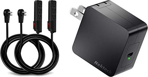Nekteck UL Certified 6 Feet Power Strip Extension Cord [2Pack] and Nekteck 60W USB C Charger GaN Tech, PD 3.0 Wall Adapter