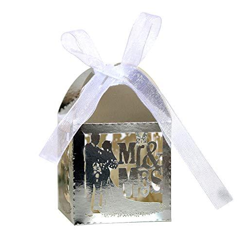 20 Stks Uitsnijding Vlinder Snoepdozen De heer Mevrouw Bruiloft Party Favor Chocolade Case Geschenkzak 1.97 x 1.97 x 3.15 Inch ZILVER