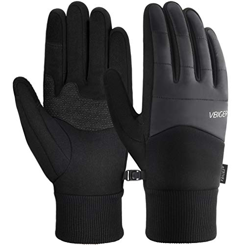 VBIGER Unisex Cycling Gloves Running Gloves Touch Screen Anti-slip Waterproof Sports Winter Gloves, M, Black