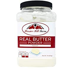 Made in a facility that also makes wheat products 1 Pound Jar Butter Powder, packaged in plastic jar and sealed for freshness 72% fat, GMO FREE, A Product of USA Mix ratio 1:1 Our butter powder is perfect for Soups, Sauces and Mixes - Replace churned...