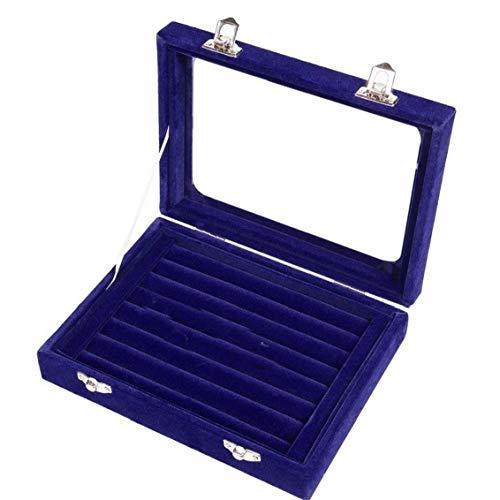Odoukey Anillos de la joyería Caja Caja de Almacenamiento de Collar Pendientes del Organizador del Caso de exhibición Organizador Gris con Tapa Azul para la joyería Home Life