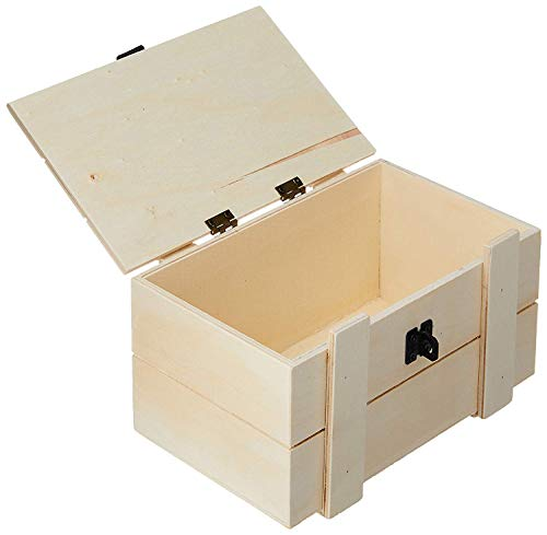 Darice Unfinished Wood Chest Box – Light Unfinished Wood with Squared Top and Clasp – Make Your Own Gift Box, Treasure Chest - Decorate with Paint, Stones, and More – 7.5