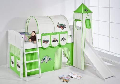 Lilokids Spielbett IDA 4106 Trecker Grün Beige-Teilbares Systemhochbett weiß-mit Turm, Rutsche und Vorhang Kinderbett, Holz, 208 x 220 x 185 cm