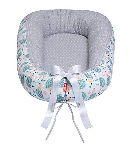 Scamp VON 29,9 EUR Premium - Cuna de viaje para bebé, antialérgica, 100% algodón, certificado Öko-Tex 100 Standard, con colchón de coco