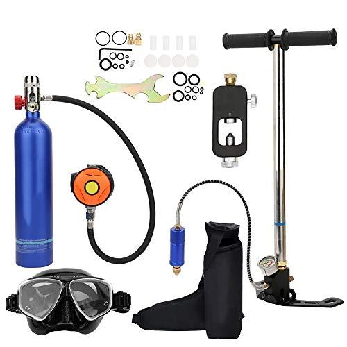Jimfoty Tanque de Buceo, Equipo de Buceo Mini Cilindro de Buceo de 1 litro Dispositivo de respiración subacuática Conjunto de Buceo con Tanque de oxígeno portátil de Buceo(Azul)