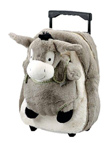 Inware 7139 - 3in1 Kindertrolley Rucksack Schmusetier, Esel, grau/beige