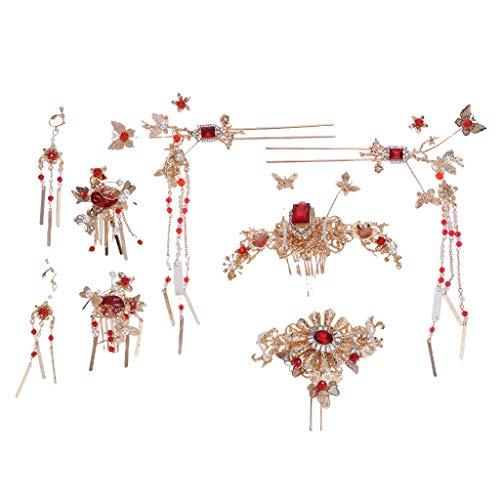 KESOTO Traditioneller Schmuckset mit Haarspange und Ohrringe, passt an Chinesischen Brautkleidung
