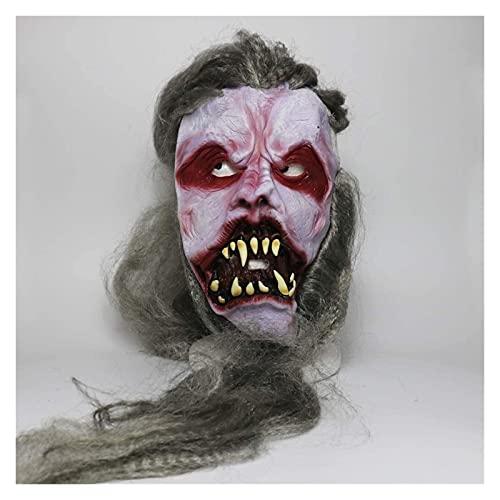 MTnoble Mascarilla de cráneo de cráneo de Zombies Sangriento Demonios de Halloween,máscara de Zombis de Vampiro de Pelo Largo,máscara de látex for niños Cosplay de la Fiesta de la Masquerade