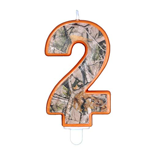 Havercamp Next Camo Party Birthday Number 2' Candle   1 Count   Great for Hunter Themed Party, Camouflage Motif, Birthday Event, Graduation Party, Father's Day Celebration, Wedding Anniversary