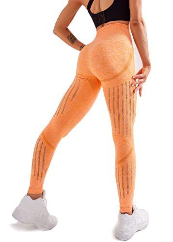 Women's High Waist Seamless Leggings Ankle Yoga Pants Squat Proof Tights Orange