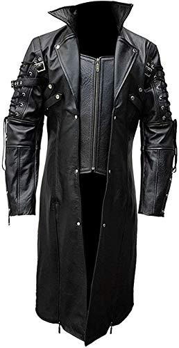 Leather Mart - Abrigo de piel para hombre, color negro Color negro....