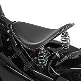 Asiento Solo de muelles Compatible para Motos Custom y Bobber monoplaza BR1 Negro