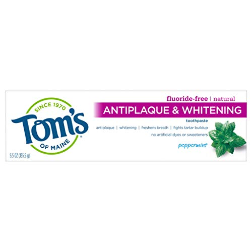 Tom's of Maine Fluoride-Free Antiplaque & Whitening Natural Toothpaste, Peppermint, 5.5 oz.