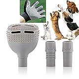 Tierhaarentferner Staubsauger Aufsatz & Fellpflegehandschuh, Massagehandschuh Set, Adapter Tier Hund Katze Haare Sofa Auto Decken Kissen Polster
