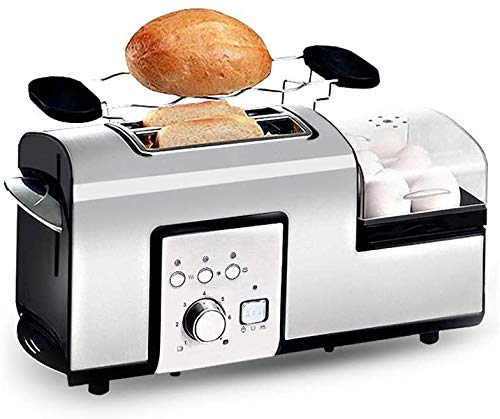 Mopoq Spit Conductor 2 rebanadas de pan tostadora multifunción compacto Tostadora Inicio Cocina Desayuno Máquina ranuras anchas Anti-Tarjeta del diseño de descongelación y función de recalentamiento