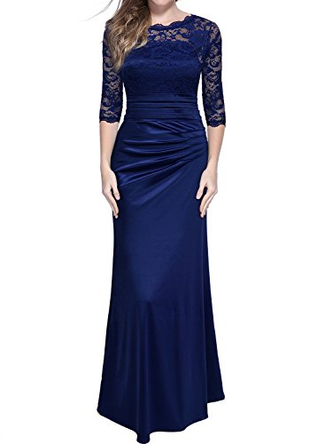 MIUSOL Damen Elegant Abendkleid Rundhals Dunkelblaue Spitzen Brautjungfer Cocktailkleid Vintage Cocktailkleid Langes Kleid Dunkelblau L