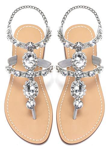 ZhuLinFeng Women's Rhinestone Gladiator Sandals Flat Beach Wedding Shoes Flip-Flops Gemstone Pearl Sparkling Bride Bridesmaid Silver&Gold Size 6.5