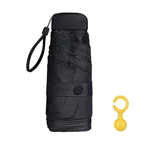 Vicloon Mini Paraguas, Paraguas de Viaje Portátil 6 Varillas con Puesto de Paraguas y 210T Negro Tela de Goma, Paraguas Plegables y Compacto, Mini Viento Paraguas 95% De Resistencia UV - Negro