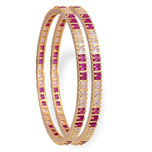YouBella Ethnic Bollywood Gold Plated Traditional Indian American Diamond Bangles Jewellery for Women and Girls (6.3)