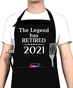 2021 Retirement Gift Apron for Men and Women Funny 2021 The Legend Has Retired Apron with 3 Pockets Happy Retirement Gifts for Office Coworkers Boss Husband Dad Mom Friends