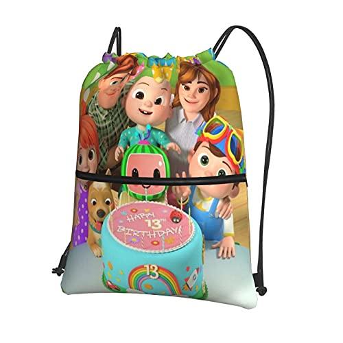 Cocomelon - Mochila deportiva con cordón, con cierre exterior, mochila impermeable con cordón, bolsa de viaje para niños o niñas
