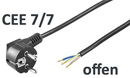 kab24® Schutzkontakt Stromkabel Netzkabel (5m, schwarz Schutzkontakstecker gewinkelt auf offene Enden)