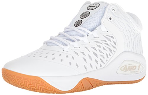 AND 1 Men's Attack Mid Basketball Shoe, White/Super foil/Gum, 10.5 M US