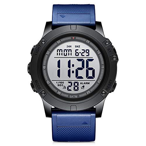 Golden Hour Reloj Digital Deportivo para Hombre, Impermeable, Estilo Militar, táctico, con retroiluminación LED y Correa de Goma Azul, para Hombre