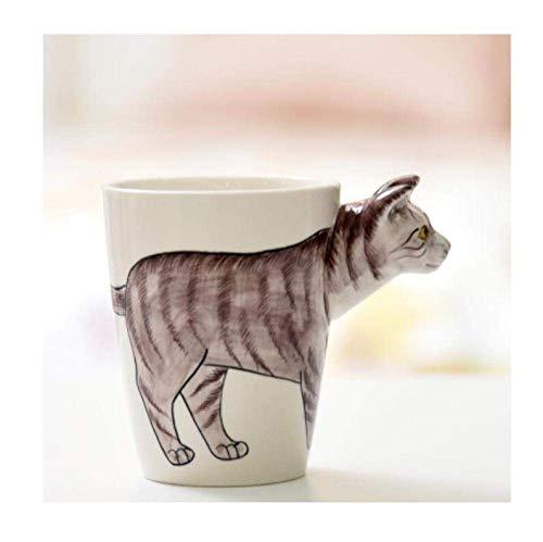 LUISONG FANMENGY Taza de cerámica para regalo creativo, taza de café y leche Ttea en 3D, forma de animal pintada a mano, ciervo, jirafa, vaca, mono, gato, camello, elefante, caballo, taza para hogar