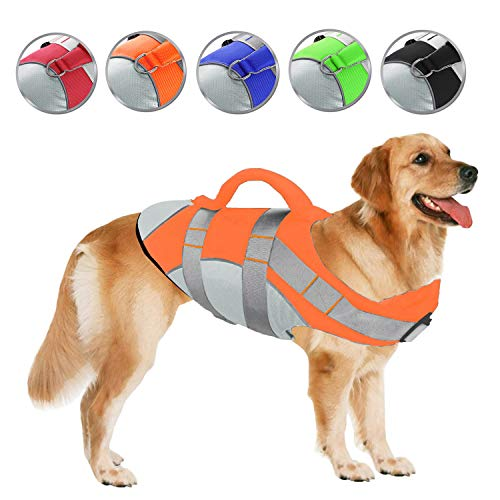 SUNFURA Pet Life Jackets Summer Dog Float Coat with Reflective Strips and Rescue Handle Adjustable Ripstop Pet Life Vest for Small Medium Large DogsOrangeS