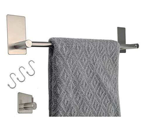 MGN Handtuchhalter selbstklebend   Handtuchstange Edelstahl gebürstet 40 cm für Bad und Küche ohne Bohren incl. 3 Haken   Wand- und Schrankmontage Plus Wandhaken für Küchen- und Badetücher