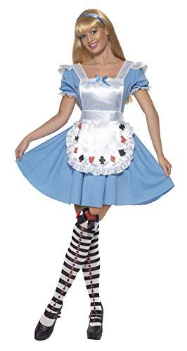 Smiffys-39474S Disfraz deNina baraja de Cartas,con Vestido, Color Azul, S-EU Tamaño 36-38 (Smiffy'S 39474S)