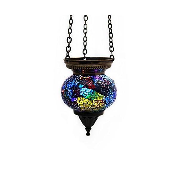 Mosaik-Lampe-Hngelampe-Windlicht-Pendelleuchte-Aussenleuchte-Deckenleuchte-aus-Glas-Teelichthalter-Orientalisch-Handarbeit-dekoration-GallZick