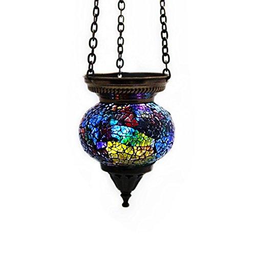 Mosaik Lampe Hängelampe Windlicht Pendelleuchte Aussenleuchte Deckenleuchte aus Glas Teelichthalter Orientalisch Handarbeit dekoration - Gall&Zick (Bunt S)