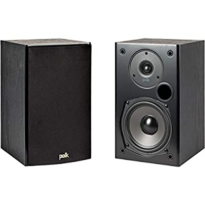 Polk Audio T15 100 Watt Home Theater Bookshelf Speakers (Pair) - Premium Sound at a Great Value | Dolby and DTS Surround | Wall-Mountable, Black